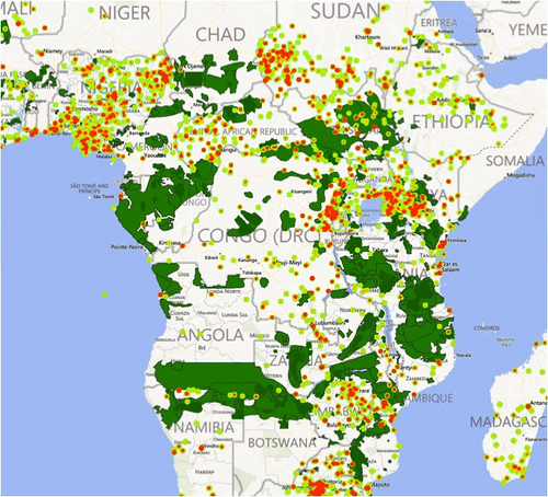 Continent-wide look at violent incidents mapped over elephant ranges.