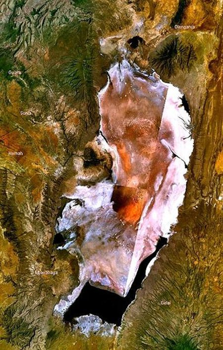 Lake Natron as viewed from satellites. © NASA.