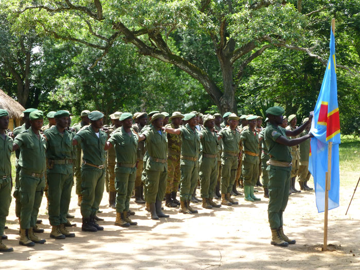 Rangers on parade to launch operation Safisha - the intensified anti-poaching operation © African Parks