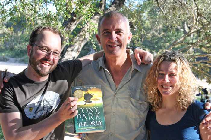 Tony Park and the Africa Geographic winners with Tony's new book, The Prey
