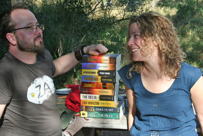 Andre and Alejandra with their collection of signed Tony Park books © Janine Mare