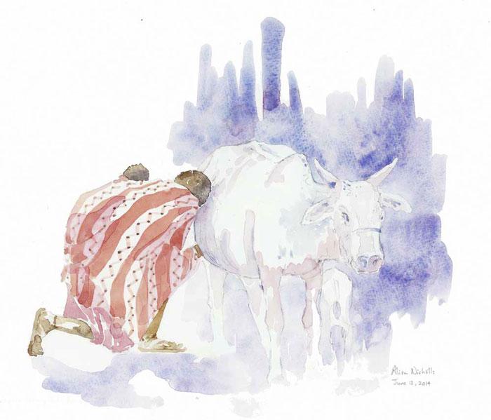 "Mother's Milk field sketch                    11x14"" pencil & watercolor by Alison Nicholls"