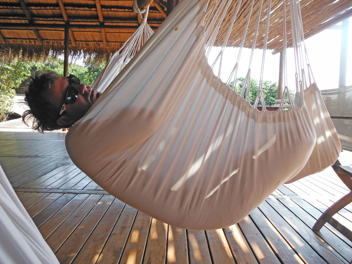 Easy to get into but not so easy to get out off - the hammocks at Machangulo Beach Lodge.