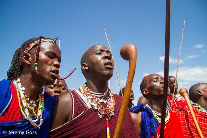 Maasai warriors chant before the start of the Maasai Olympics.