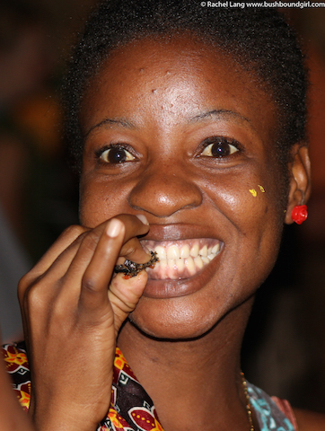 Enjoying a mopane worm
