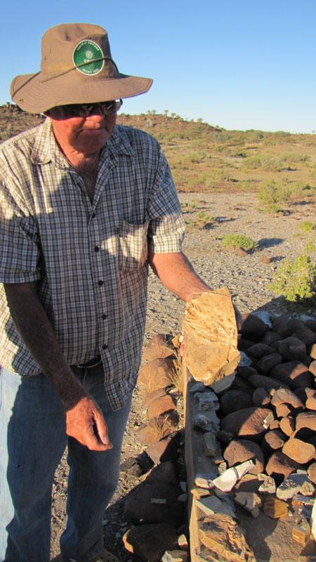 Giel Steenkamp displays a Mesosaurus fossil