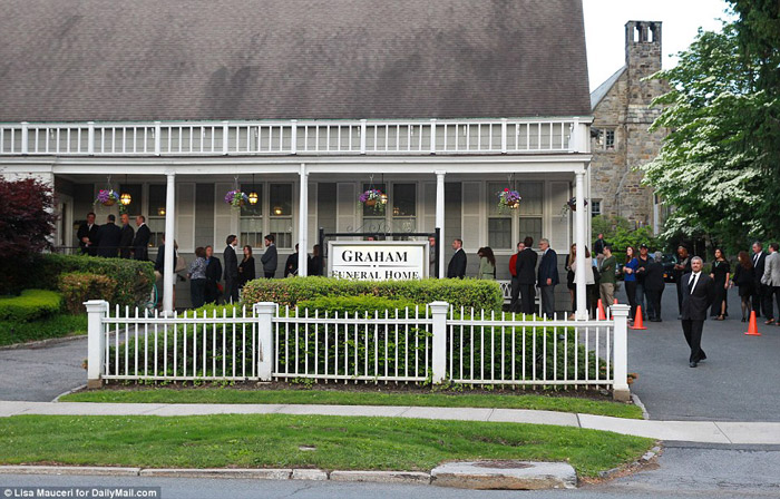 Wake: Family and friends gathered at a funeral home in Rye, New York yesterday to pay their respects to Miss Chappell