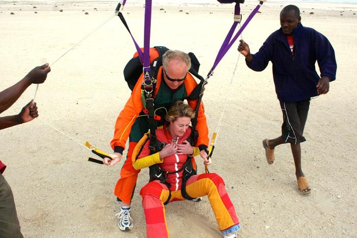 Landing after skydive
