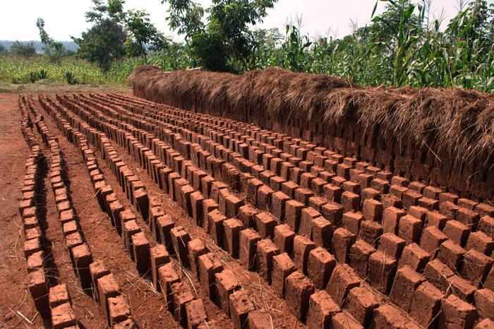 bricks left to dry in sun