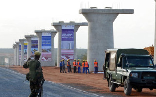The construction of standard gauge railway super bridge piers underway at the Tsavo.