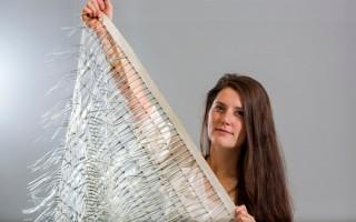 Charlotte Slingsby, who created Moya, a wind energy harvesting sheet. © Graham Turner/Guardian