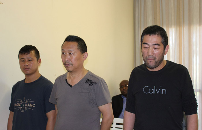 Alleged Chinese couriers Li Xiaoling, Li Zhibing and Pu Xuexin, from Jiangsu province, at their first appearance in court