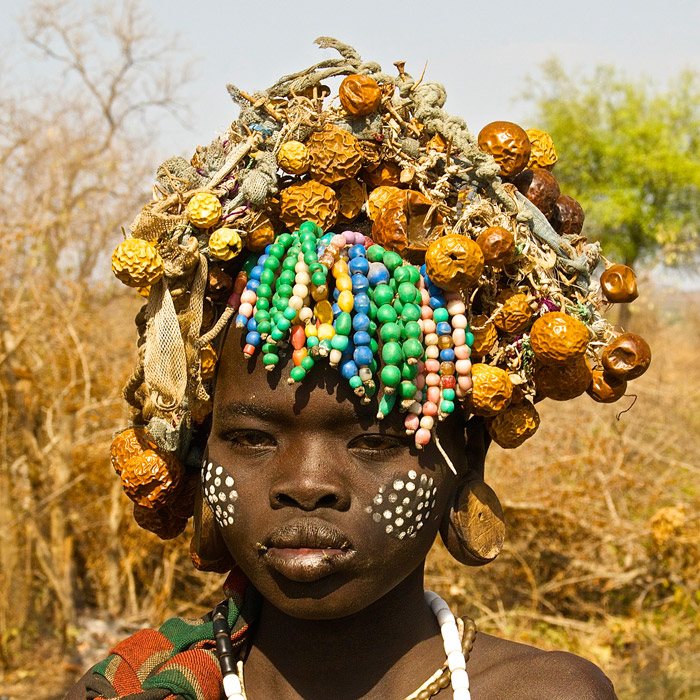 Mursi women are famous for their unique headdress