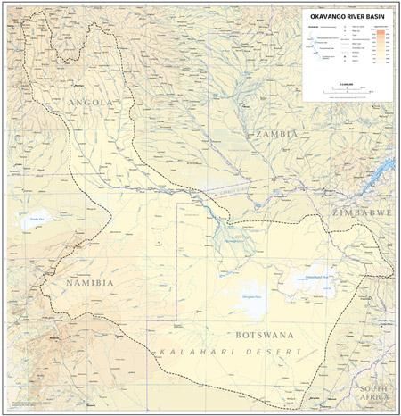 Three countries of the Okavango Delta