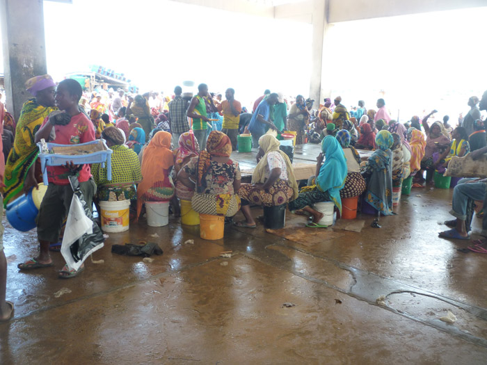 Downtown fish market in Tanzania