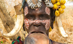 Mursi tribe in Omo Valley maintain traditional dress