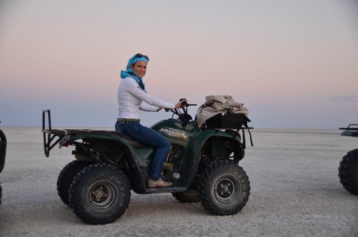 quadbiking across the Makgadikgadi Salt Pans