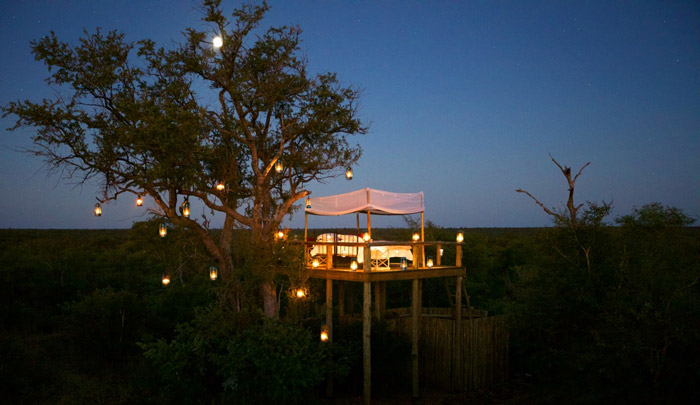 Sleeping under the night's sky in Tanda Tula's star bed.