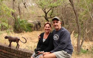 Author Tony Park and his wife Nicola at their home alongside Kruger National Park.