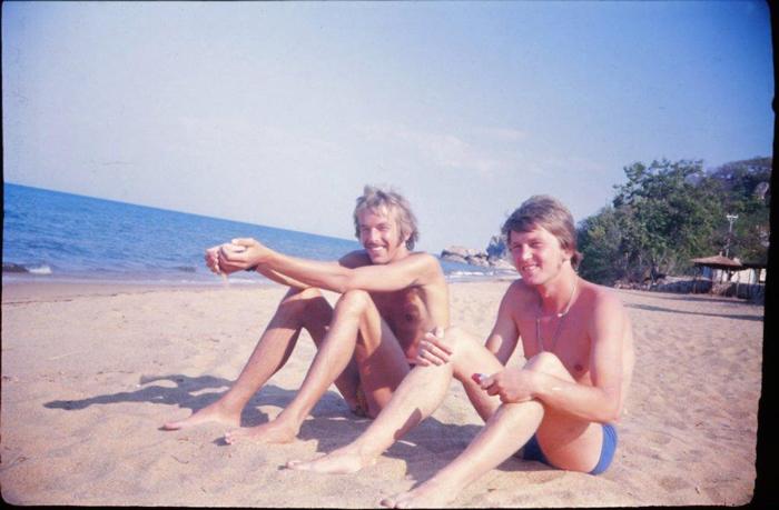 On the beach at Lake Malawi.