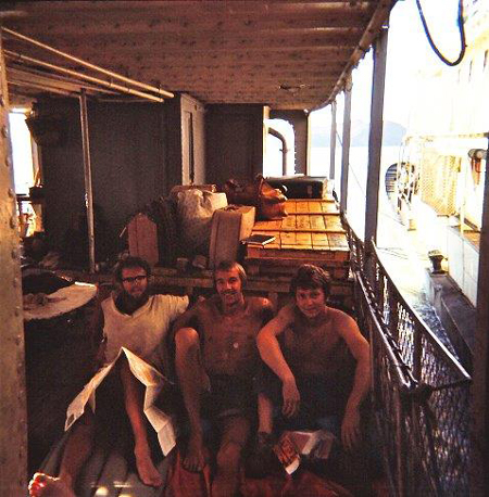 Sailing on the Aswan Dam to Wadi Halfa Picture left to right Charles Hooper Adrian Waters and Dave Renshaw