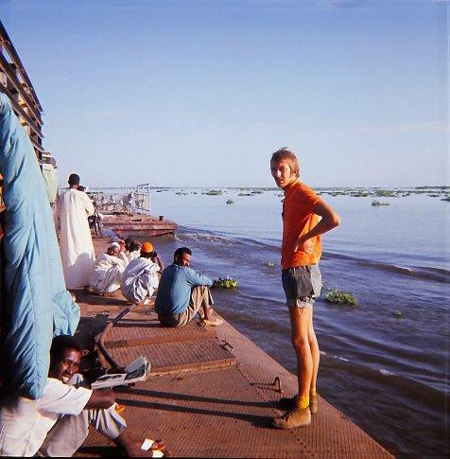 A 13 day journey on the boat from Khartoum to Juba ,the barges are attached to the front of the boat.