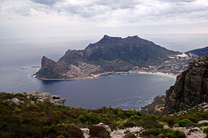 Looking down on The Sentinel (left) and Hout Bay from the Silvermine Mountain Bike Trail in Table Mountain National Park ©warrenski