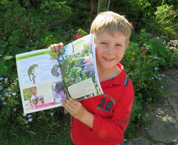 Well done to Kai for finding a Cape chameleon in the garden!