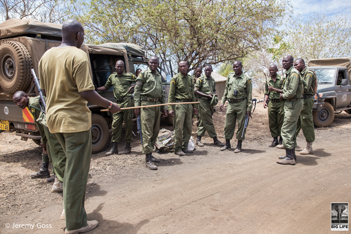 Rangers from Big Life Foundation and Kenya Wildlife Service plan patrols to track the snared rhino calf