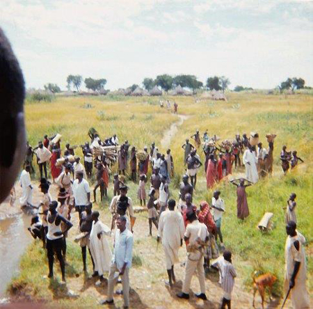 A typical scene of a village in Southern Sudan.