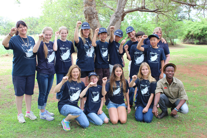 Young conservation ambassadors from Rhino-SA with Y4AW project leader.