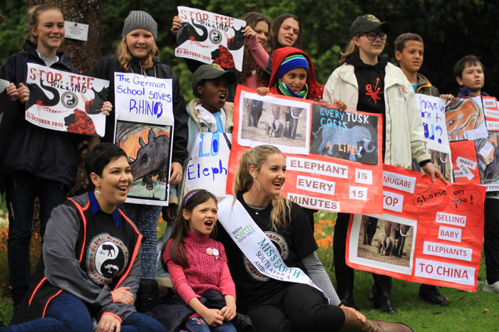Children take a stand at the Global March for Elephant and Rhino in Cape Town