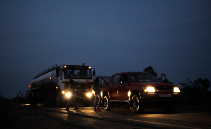 The dogs continue working late into the night when there is a much higher chance of illegal products being transported.