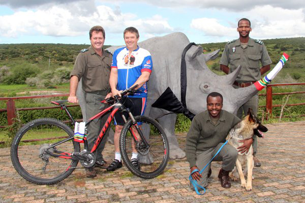 Wayne Bolton in Addo Elephant National Park with rangers and Bullet