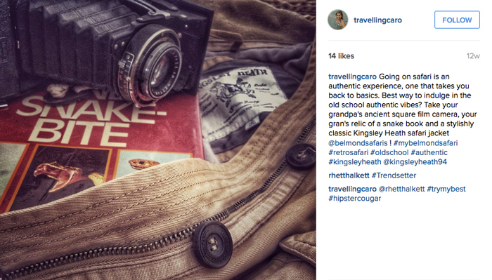 Going on safari is an authentic experience, one that takes you back to basics. Best way to indulge in the old school authentic vibes? Take your grandpa's ancient square film camera, your gran's relic of a snake book and a stylishly classic Kingsley Heath safari jacket. © @travellingcaro