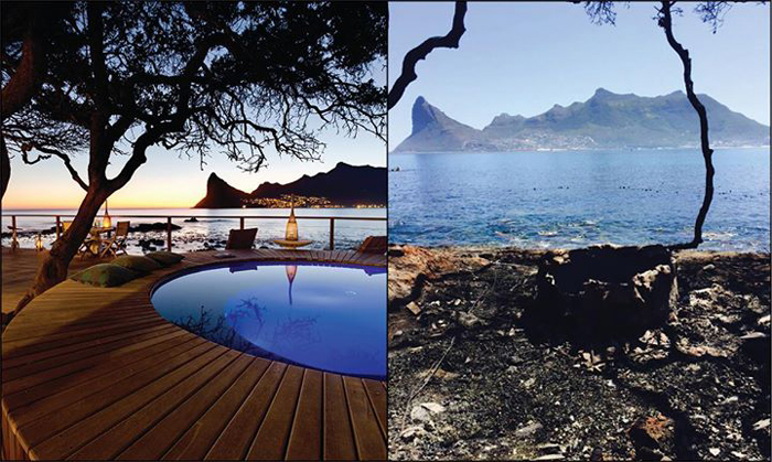 The swimming pool and deck area before and after the Cape Fire