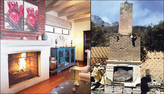 The lounge and fireplace before and after the Cape Fire ©Tintswalo Atlantic