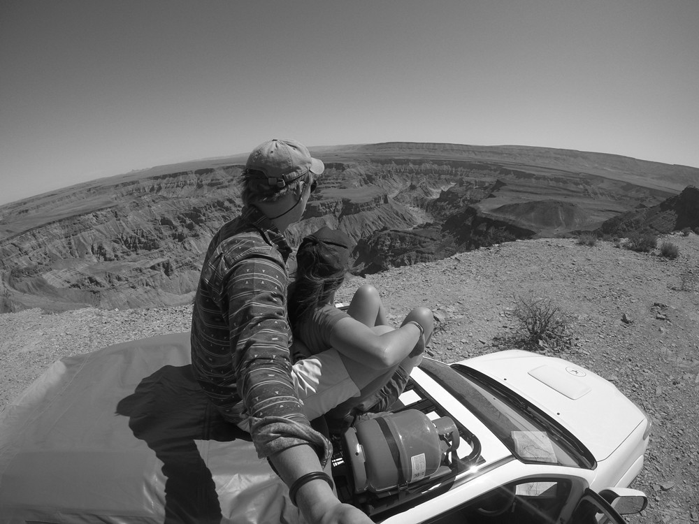 Sitting on our roof admiring the incredible view over Fish River Canyon