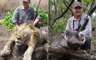 Luciano Ponzetto with a dead lion, left and a dead warthog