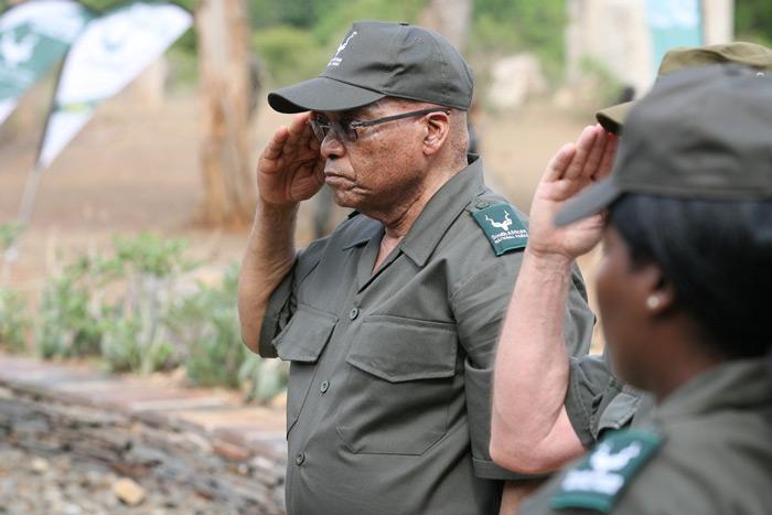 President Jacob Zuma salutes at the ranger memorial.