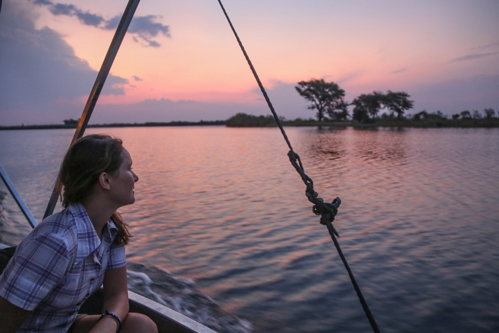 Relaxing on a boat cruise along the Chobe River