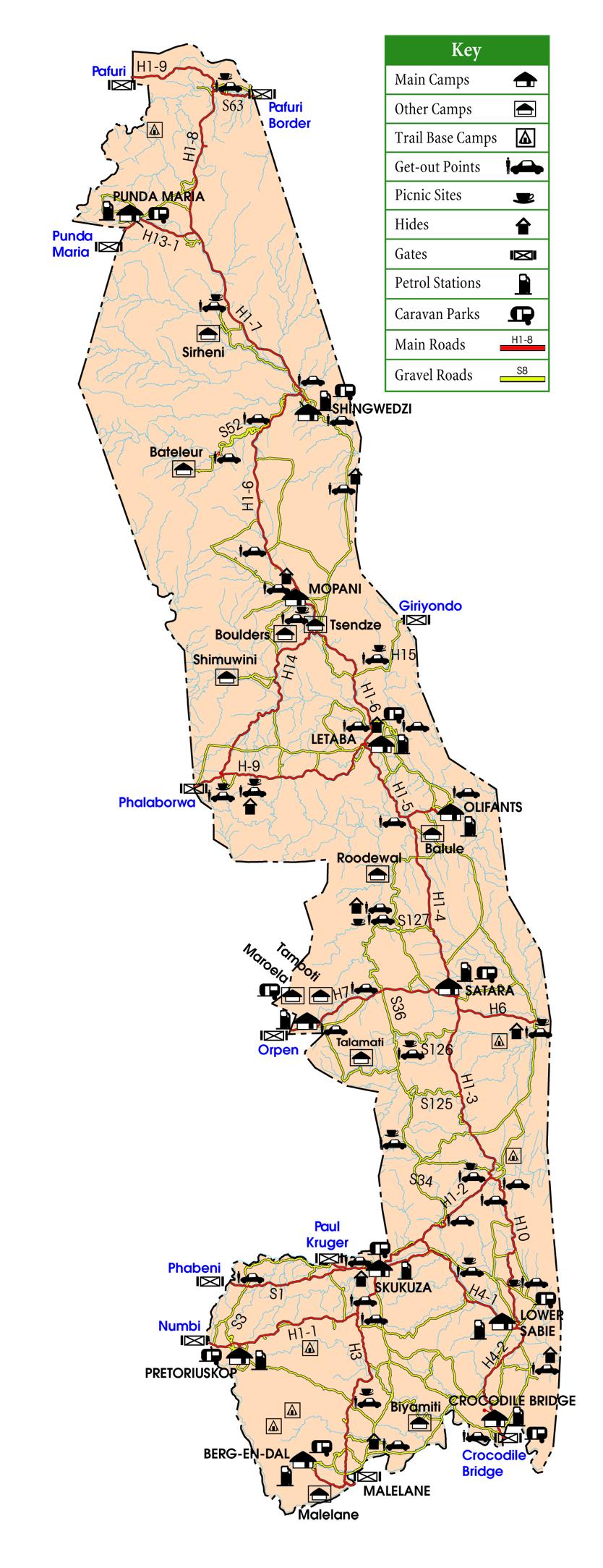 Map of Kruger National Park ©SANParks