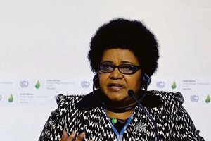 SA's minister of environmental affairs, Edna Molewa, at a news conference during the world climate change conference ©Reuters