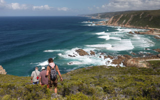 A small groups of walkers with an expert local walk leader ©Cape Walking Fest