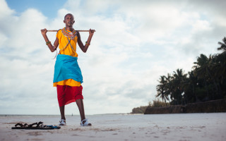 Maasai On Beach