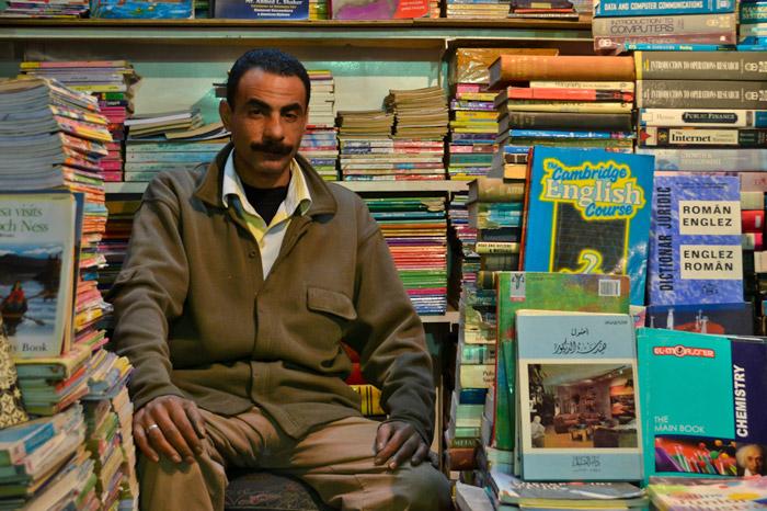 Seller in his book store in El-Nabi Danial street in Alexandria in Egypt