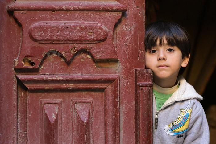 A young boy in Kom El-Dikka region in Alexandria in Egypt