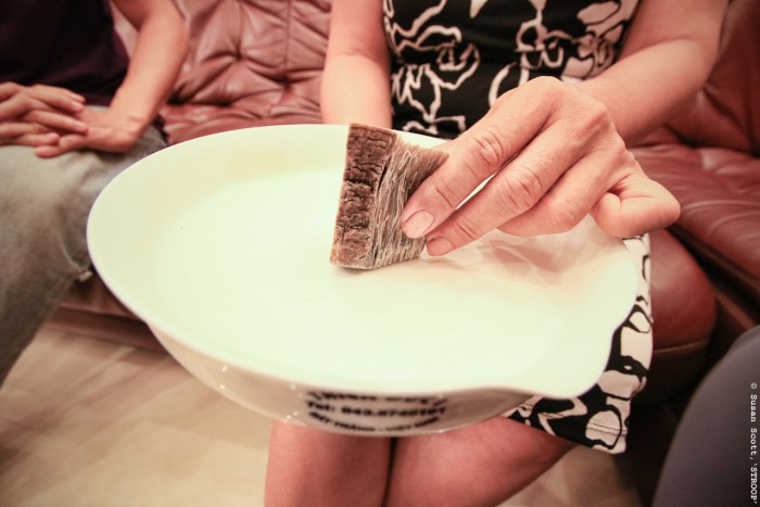 A Vietnamese cancer patient grounds rhino horn into powder