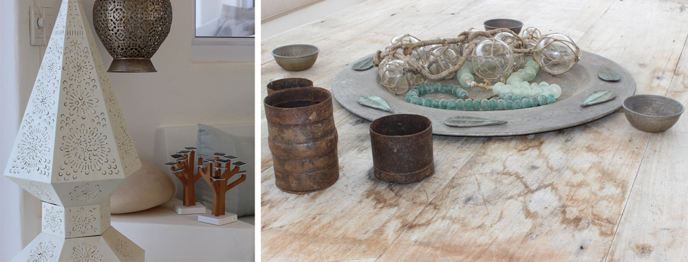 Solar-powered mobile battery chargers add a touch of sustainability to your stay at Villa Santorini (left); While decorative touches make all the difference (right) ©Kelly Winkler
