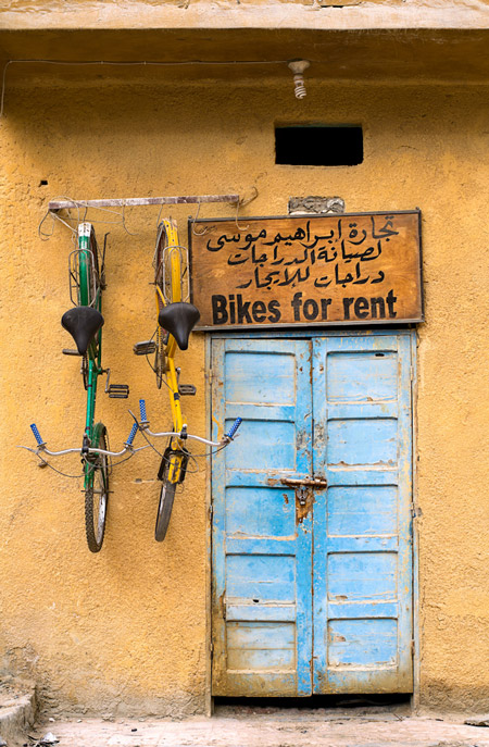 A shop for renting bicycles in the old town of Shali in Siwa Oasis in Egypt